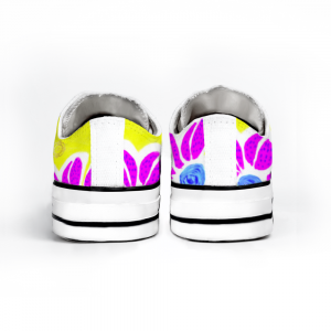 San Flor Collection: Unisex pink floral shoes with a yellow background, designed by Eldragonfly Barcelona