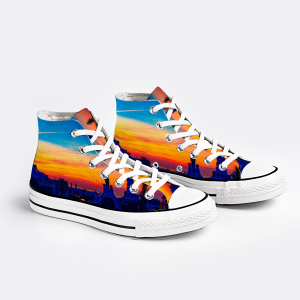 Parc Güell Collection: Unisex canvas shoes- sunset print designed by Eldragonfly Barcelona