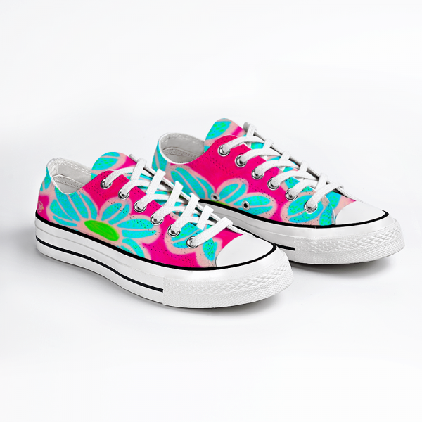 San Flor Collection: Unisex blue floral shoes with a pink background, de signed by Eldragonfly Barcelona