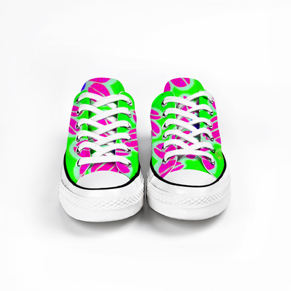 San Flor Collection: Unisex pink floral shoes with a green background, designed by Eldragonfly Barcelona