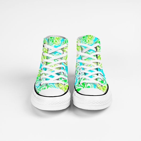 San Flor Collection: Unisex green floral shoes with a turquoise background. designed by Eldragonfly Barcelona