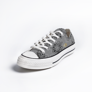 San Flor Collection: Unisex black floral shoes with an ulitimate gray background.