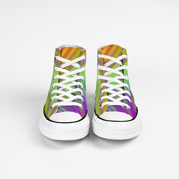 San Disco Collection: Unisex canvas shoes,in pastels colours, purple, green and orange swirls.