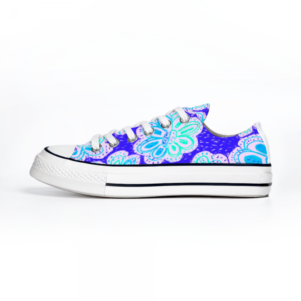 San Flor Collection: Unisex turquoise floral shoes with a blue background.