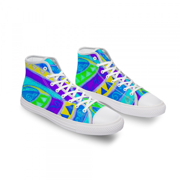San Vic Collection: Unisex Canvas shoes, with a Mediteranean tribal blue print.