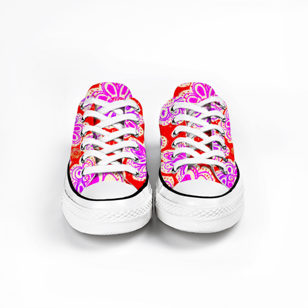 San Flor collection: Women´s canvas sneakers with a liliac flower print, and a red background by eldragonfly barcelona