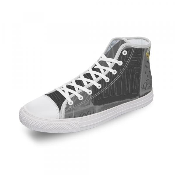 San Antoni Collection: Unisex ultimate gray tribal print canvas shoes- Design 4