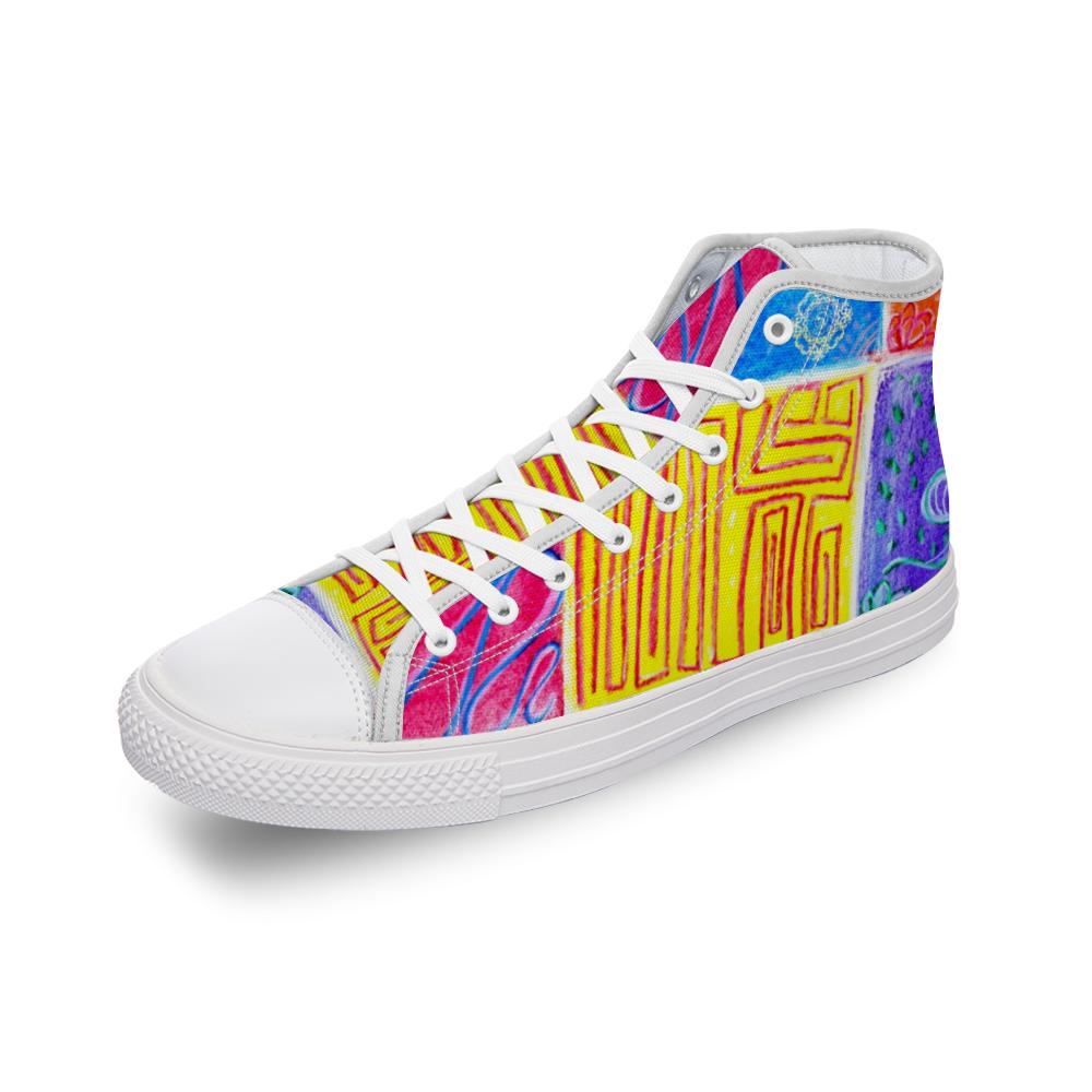 San Antoni Collection: Unisex technicolour tribal print canvas shoes designed by eldragonfly Barcelona