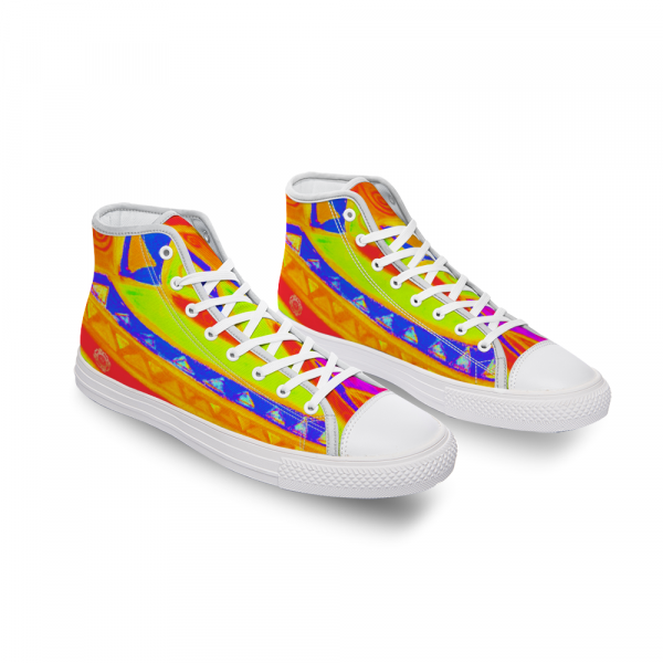 San Vic Collection: Unisex Canvas shoes, with a Mediteranean tribal rainbow print, designed by eldragonfly barcelona