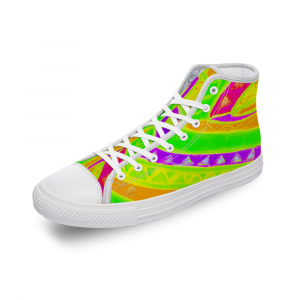 San Vic Collection: Unisex Canvas shoes, with a Rainbow Mediteranean tribal print- Design 2 eldragonfly Barcelona