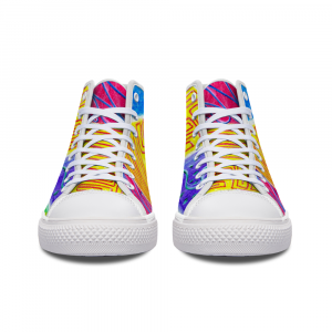 San Antoni Collection: Unisex technicolour tribal print canvas shoes designed by eldragonfly Barcelona