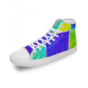 San Antoni Collection: Unisex technicolour tribal print canvas shoes- Design 2 barcelona spain