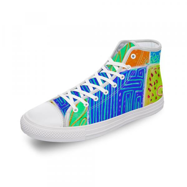 San Antoni Collection: Unisex technicolour tribal print canvas shoes- Design 2 designed in Barcelon Spain
