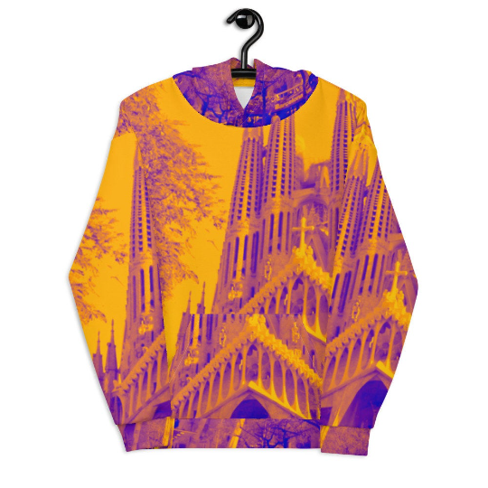 Sagrada Familia Street fashion yellow hoody, designed by Eldragonfly Barcelona