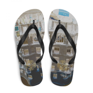 La pedrera flip flops ( rosa y azul) influenced from Antoni Gaudi,architecture: an original design from Eldragonfly Barcelona