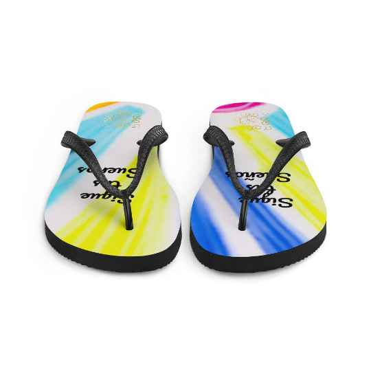 "San Alfonso Collection: Beach fashion flip-flops ""Sigue tus sueños"" (Spanish for ""Follow your dreams"") desigened by eldragonfly Barcelona"
