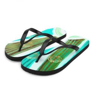 Playa de sol flip flops ( verde ) designed by Eldragonfly Barcelona