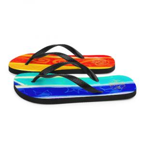 Plaza de la fiesta rainbow flip flops ( diseño quatro ) designed by Eldragonfly Barcelona