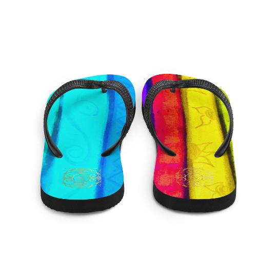 Plaza de la fiesta beach fashion flip flops ( diseño dos ) designed by eldragonfly Barcelona