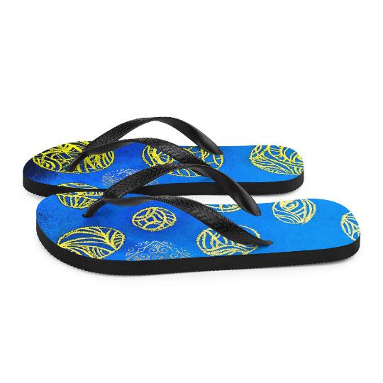 Fiesta de Palomar Flip flops ( Azul )eldragonfly barcelona