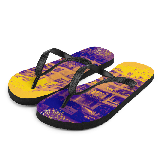 La Pedrera flip flops (amarillo y azul ) designed by eldragonfly Barcelona