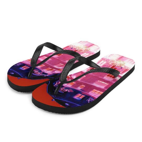 La pedrera flip flops ( rosa y azul) influenced from Antoni Gaudi,architecture: an original design from Eldragonfly Barcelona