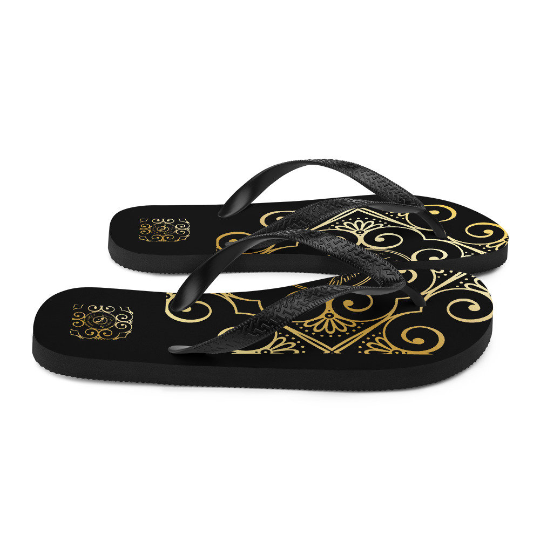 San Pablo black and gold flip flops ( diseñar uno) designed by Eldragonfly Barcelona