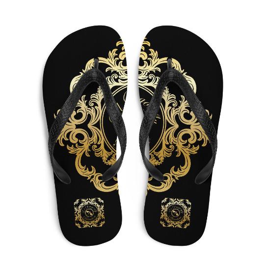 San Pablo black and gold flip flops (diseño tres)designed by Eldragonfly Barcelona