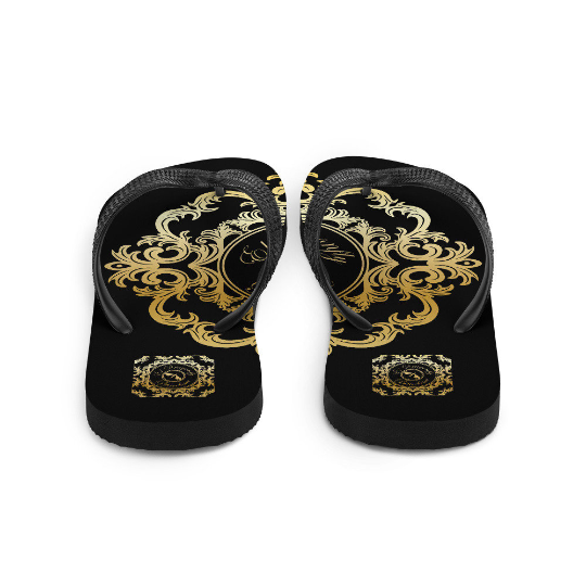San Pablo black and gold flip flops (diseño tres)designed by Eldragonfly Barcelona