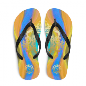 Fiesta de playa Collection: Barcelona unisex beach fashion flip flops (diseño uno) designed by Eldragonfly Barcelona