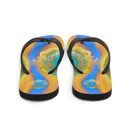 Fiesta de playa Collection: Barcelona unisex beach fashion flip flops (diseño uno) designed by Eldragonfly Barcelona