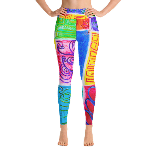 Rosalina Collection: High waist leggings with abstract tribal artwork
