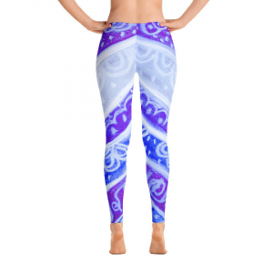 Anna Collection - Low waist leggings, blue floral, tribal designs, designed by Eldragonfly Barcelona