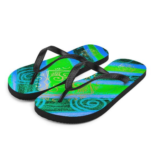 Barceloneta tribal techncolour flip flops ( dos verdes ) by eldragonfly barcelona