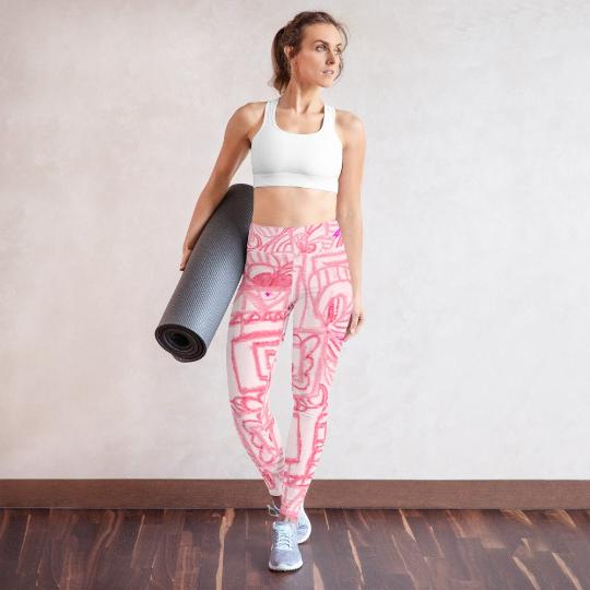 Señora Costa Collection: High waist yoga leggings, in pink grafitti fashion style, designed by eldragonfly Barcelona