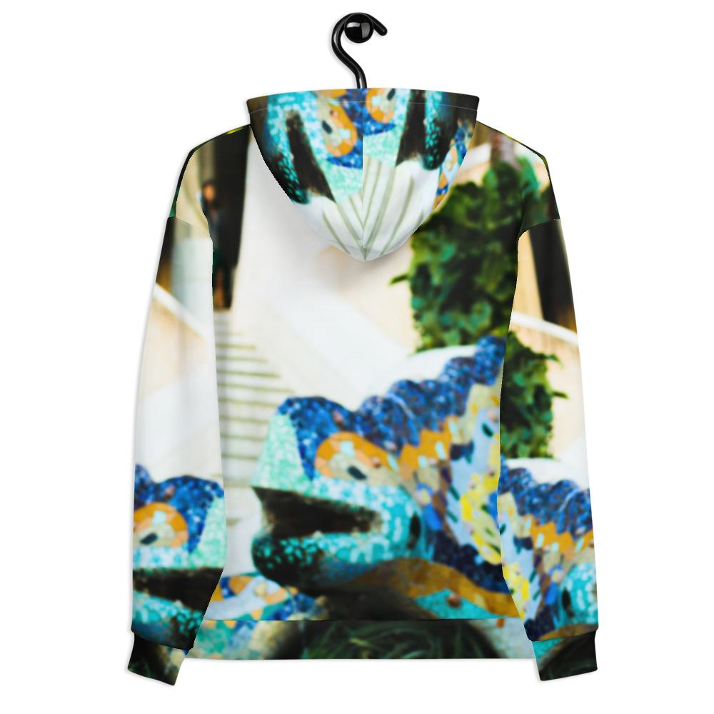 Parc Güell Collection: Unisex psychedelic, beach fashion hoodie.
