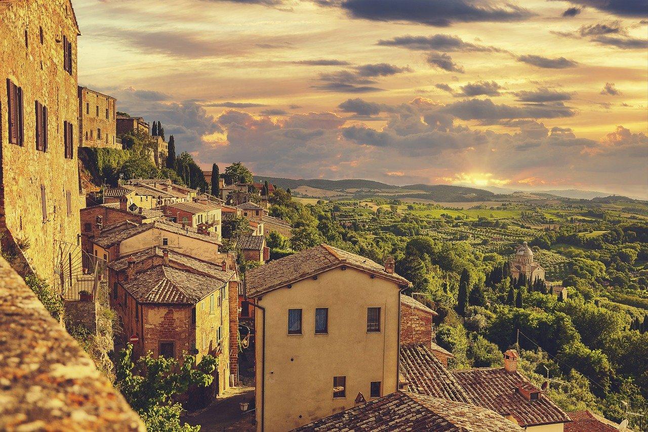 town, hill, sunset