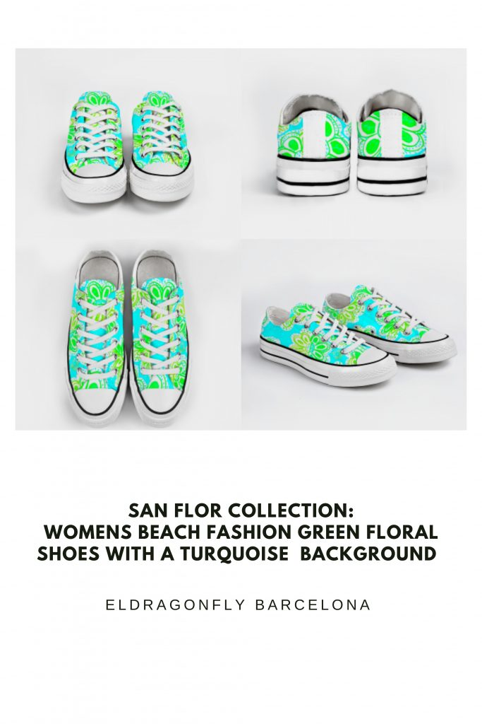 San Flor Collection: Womens beach fashion green floral shoes with a turquoise background designed by Eldragonfly Barcelona