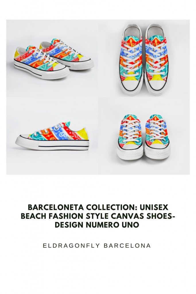 Barceloneta Collection: Unisex beach fashion style canvas shoes- design numero uno designed by eldragonfly Barcelona