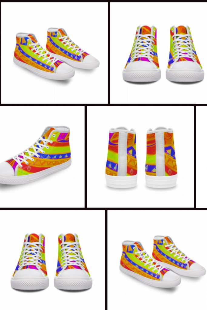 San Vic Collection: Unisex Canvas shoes, with a Mediteranean rainbow tribal print.