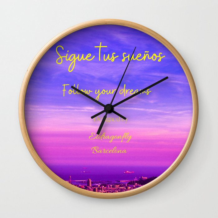 barcelona sunset wallclock, designed by eldragonfly Barcelona