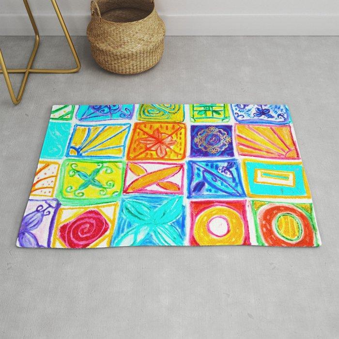 Beachstyle patchwork print Rug, designed by Eldragonfly Barcelona