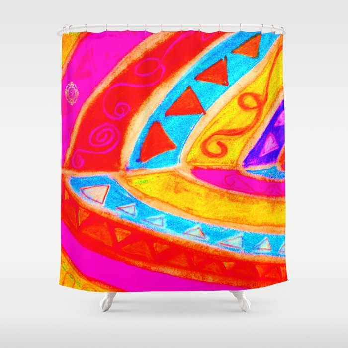 Medieteranean Tribal- San Pol design: Red and purple Shower Curtain, designed by eldragonfly Barcelona