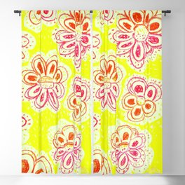 Mediteranean street art flowers- Yellow Blackout Curtains, designed by Eldragonfly Barcelona