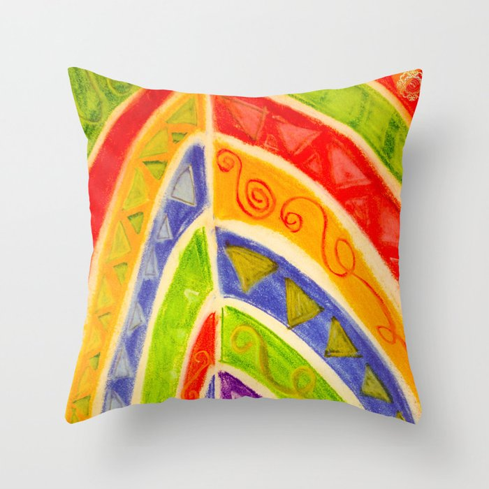Mediteranean Tribal Throw Pillow, designed by eldragonfly Barcelona