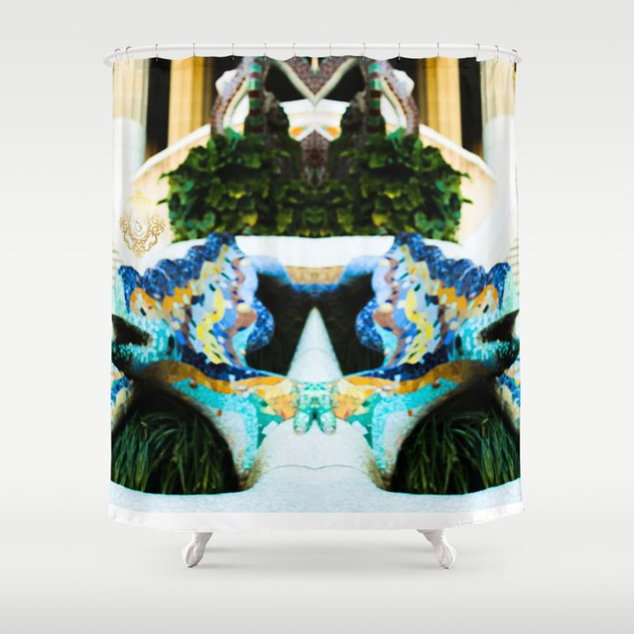 park guell shower curtain designed by eldragonfly Barcelona