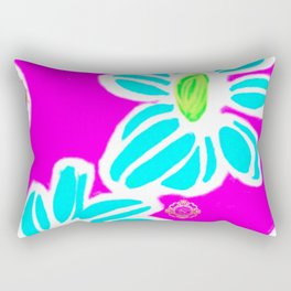 San Pol beach flowers- blue and purple Rectangular Pillow, designed by Eldragonfluy Barcelona