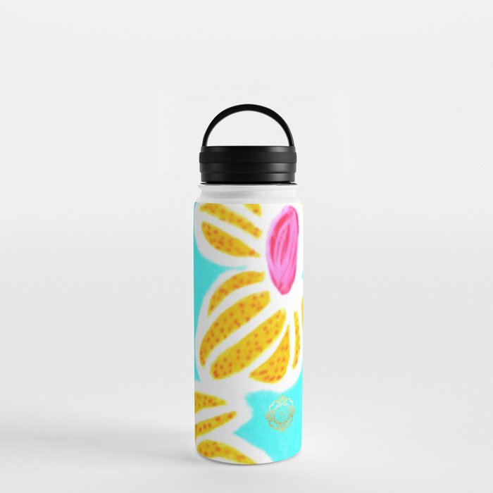 san pol water bottle, in yellow and blue flowers, designed by eldragonfly Barcelona
