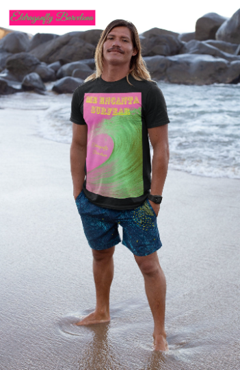"Surf Collection : ""Me encanta Surfear"" Spanish for ""I love to surf"" A pink surf T- shirt print, for all those Surf lovers., designed by eldragonfly Barcelona"