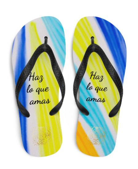 "San Alfonso flip flops "" Haz lo que amas"" ( Do what you love)designed by eldragonfly Barcelona"